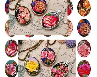 Roses Art Ovals - - Digital Collage Sheets - 30x40mm Ovals for Jewelry Makers, Party Favors, Crafts Projects
