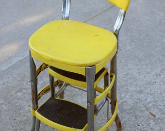 Yellow Metal Cosco Chair, Yellow Step Stool, Yellow Folding Chair, 1950s Yellow Kitchen Chair, Yellow Metal Step Chair