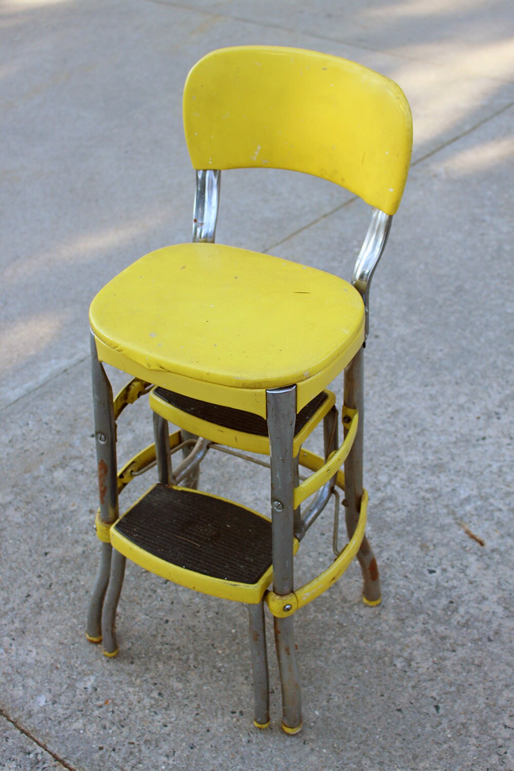 Yellow Metal Cosco Chair Yellow Step Stool By Letslovevintage