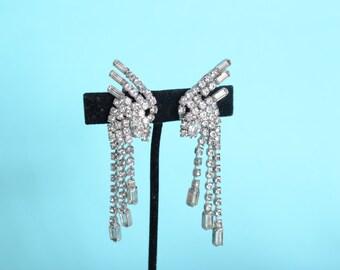 Vintage 1960s LaRoco Wedding Earrings - Rhinestone Chandelier - Bridal Fashions