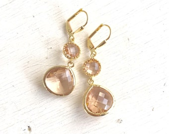 Champagne Bridesmaid Earrings. Jewel Bridesmaid Earrings. Bridal Drop Earrings. Gold Fashion Earrings. Wedding Jewelry. Christmas Gift.