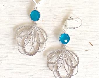 Sky Blue Dangle Earrings in Silver. Multiple Teardrop Drop Earrings.  Sky Blue Jewelry. Bridesmaid Earrings. Gift for Her. Christmas Gift.