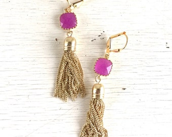 Hot Pink and Gold Tassel Earrings.  Drop. Dangle. Gold Tassel Jewelry. Jade Jewelry. Jewelry Gift.  Dangle Earrings. Modern Earrings.