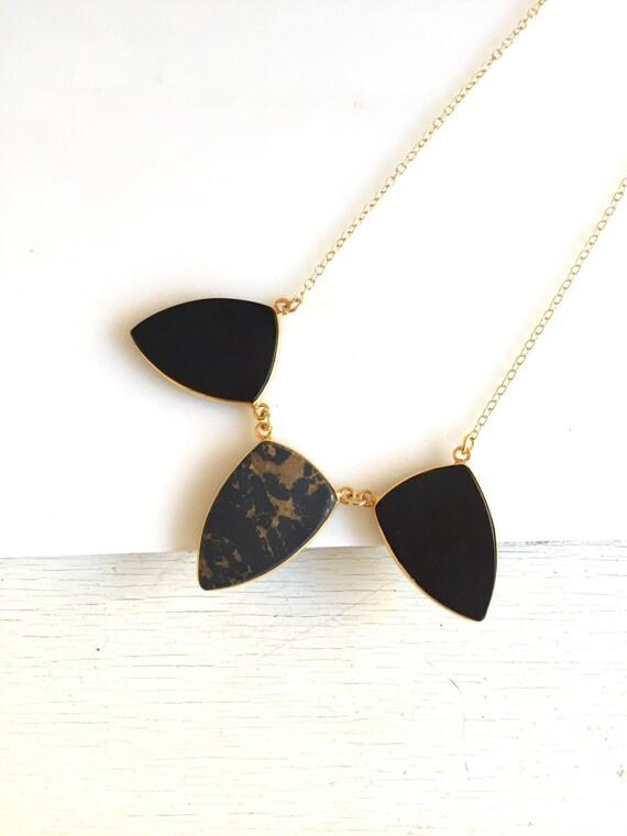 Black Stone Statement Necklace. Bib Necklace. Black Gold Bib Necklace. Statement Jewelry. Gift. Holiday Jewelry.
