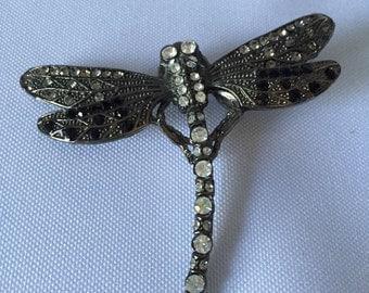 Dragonfly Hematite Crystal Pin Brooch