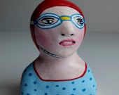 Clay figurine // SWIMMER 57 clay sculpture // art dolls // bust // blue bathing suit // red swim cap with strap - goggles // original art