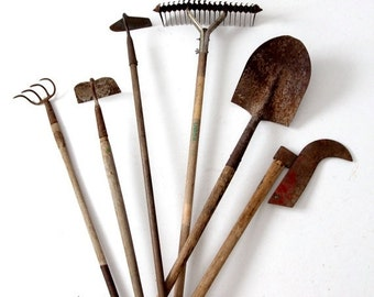 SALE vintage garden tools, collection old lawn and garden tools, shovel, hoes, aerator, cultivator