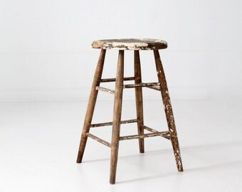 antique wood stool, rustic splay leg stool