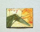 Tulips in yellow, ACEO original textile art, 2.5 x 3.5, yellow green, spring flower, collectors item, perfect gift, affordable art