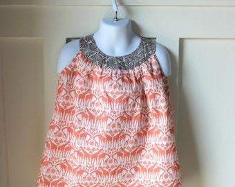 Coral Giraffe Print A Line Dress Size 3