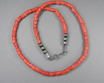 Native American Coral Necklace, Vintage Coral, Sterling Bench Beads, Untreated, Undyed, Red Branch Coral, Mediterranean, Boho, Hippie