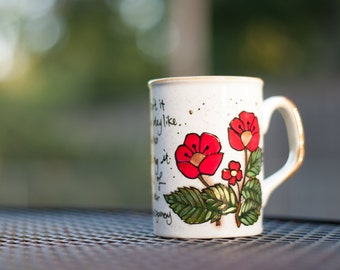 "Anne of Green Gables ""What a splendid day!"" Medium-small, white mug with flowers - L.M. Montgomery Quote - Anne Shirley"