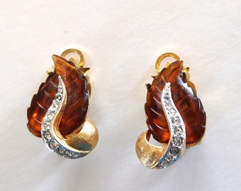 Vintage Earrings MARVELLA Leaves Brown jelly Crystal rhinestone gold tone 50s Elegant Glamour Mother Prom