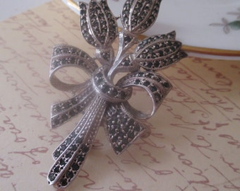 Sterling Silver Bouquet of Tulips Marcasite Rhinestones Signed