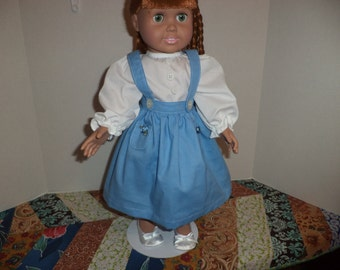 18 inch doll clothes, Blue Skirt & White Blouse, Ready to Ship