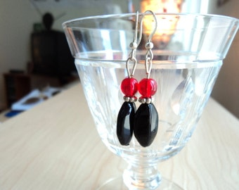 Black and Red Earrings. Recycled Plastic Beads and Glass Beads.