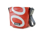 Small Messenger Bag, Small Laptop or Tablet Bag, Waterproof Shoulder Bag made from recycled Truck Tarp, Eco Friendly Travel Bag (30.02)