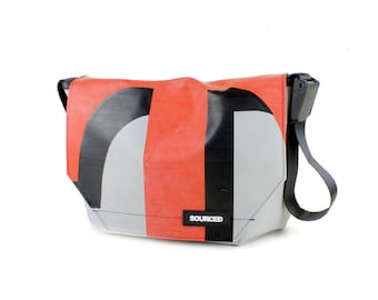 Large Messenger Bag made from Recycled Truck Tarp, Man Bag, Satchel Style Bag, MacBook Bag (55.13)