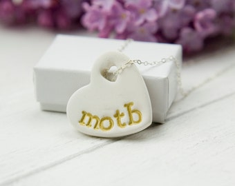 mother of the bride gift necklace, ceramic pendant
