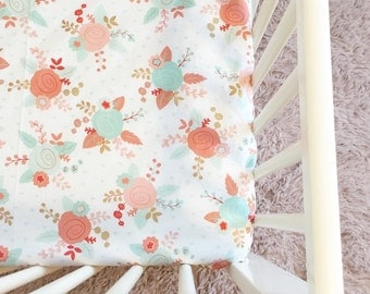 Peach floral crib sheet, cot sheet, custom nursery, custom baby bedding, crib bedding, nursery, baby bedding,flowers, gold, orange,mint,teal