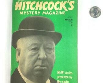 VINTAGE 1973 Alfred Hitchcock Mystery Magazine March Missing Priest Novelette by Max Van Derveer 13 Short Stories Volume 18 Number 3 Retro