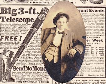 Hunky-Dory Dandy- 1910s Antique Photograph- Handsome Man- Edwardian Fashion- Good Looking- Smoking Cigar- Sepia Portrait- Paper Ephemera