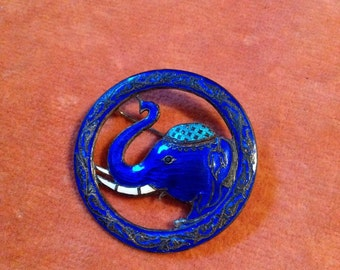 Sterling silver SIAM blue enemal elephant brooch