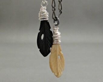 Custom Mens Silver Necklace, Bone Feather Necklace, Feather Necklace Silver