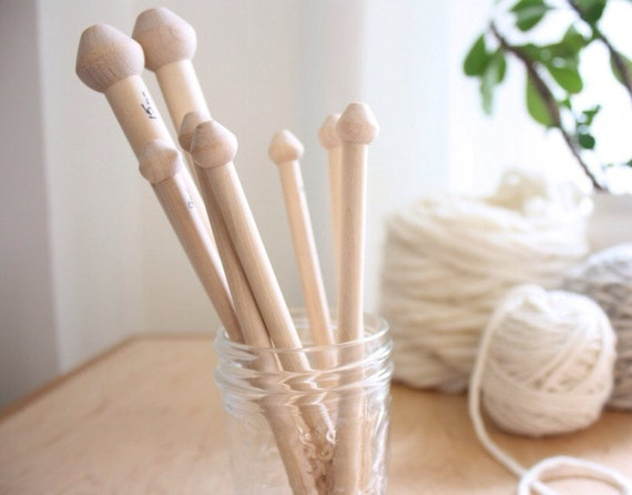 Birch Wood Knitting Needles, hand crafted in Nova Scotia, 15mm, 9mm, 8mm, single pointed