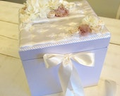 Bridal lace & floral card reception box custom available