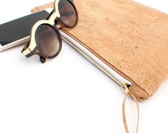 Large Cork Zip Pouch, Handmade Ecofriendly Sustainable Fashion Accessories Travel Accessories