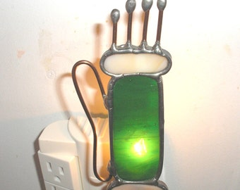 LT Stained glass Golf bag night light lamp with golf clubs made with green and beige opal glass