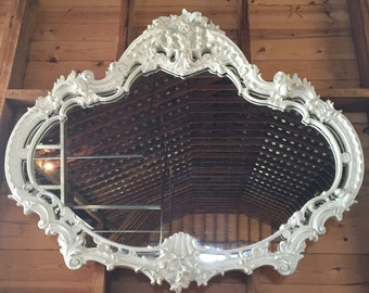 """Hollywood Regency Mirror Hand Carved White Gorgeous Stunning 52"""" x 60"""""""