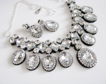 Clear Rhinestone Statement Wedding Necklace Great Bridal Wedding Jewelry Pageant Jewelry Bridal Statement Necklace  Set, Vintage Style