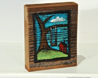 Tree Swing Painting on Reclaimed Woodblock One-of-a-kind Folk Art