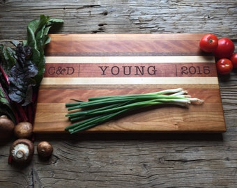 Personalized Chopping Block Engraved Custom - Wood Chopping Block - Wedding Gift, Housewarming Gift, Anniversary Gift - Personalized