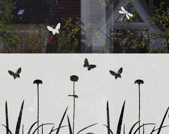Flower Butterflies Window Film Flowers Window Decal for Privacy Decorative Privacy Decal Etched Frosted Film for Glass with Flowers
