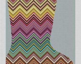Caria Zig Zag Needlepoint Stocking Canvas