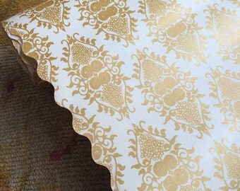 A Gorgeous Roll Of Vintage Damask Shelf Paper With Scalloped Edge