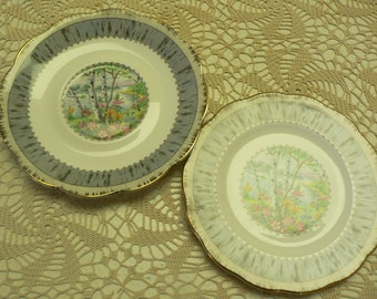 "Royal Albert ""Silver Birch"" Two Items One Bread Plate and One Gravy Boat Bottom"