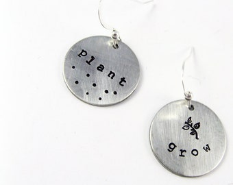 Nature Earrings - Plant and Grow - Stamped Jewelry Gift for Nature Lover, Teacher, Scientist, Mom