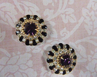 Gorgeous Art Deco Vintage CORO Purple Rhinestone Screwback Earrings - V-EAR 329 - Rhinestone Earrings - Signed CORO Earrings