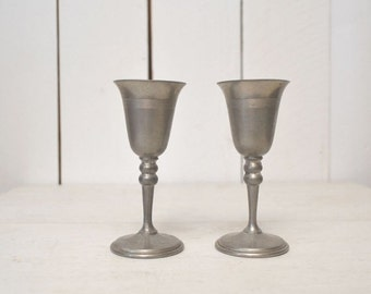 Mini Goblet Chalice Cups Silver Tone Pewter Metal Vintage 1950s Set of 2