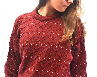 Polka Dot Sweater Early 90s Vintage Slouchy Red Knit Twin Peaks Cotton Pullover XL