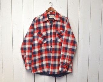 70s Plaid Flannel Shirt Jacket Vintage Red White and Blue Quilt Lined Jacket Rustic Woodland Large L / Extra Large XL