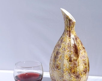 On Sale REDUCED Ceramic Vase or  Wine Decanter Handmade Pale Yellows and purple