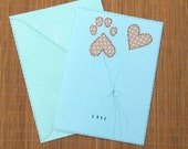 Pet lover's Valentine brown heart and paw print large card with envelope