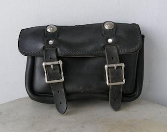 LEATHER BIKER BAG Heavy Sturdy Roomy Black Two Adjustable Straps Belt Loop Silver Indian Head Nickels Vintage Motorcycle Gear