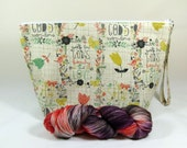 Knitting Project Bag - Large Zipper Wedge Bag in Floral / Scripture Fabric and Gray Diamond Cotton Lining