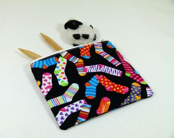 Knitting Project Bag - Petite Notions Bag in Crazy Sock Quilting Fabric with Orange and White Polka Dot Cotton Lining